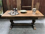 Sale 8699A - Lot 729 - Late C19th Continental Oak Extending Refectory Table with drawer leaves above twin pedestal stretcher base, dimensions: 90cm width,...