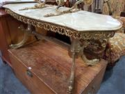 Sale 8717 - Lot 1092 - Faux Marble Shield Shaped Top Coffee Table on Brass Base