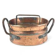 Sale 8872C - Lot 5 - Rare French Copper Daubiere with Metal Handles, width (with handles) 35cm, (without handles) 27cm
