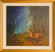 Sale 8960J - Lot 72 - David Boyd - Europa & Children with Kite in Forest oil on canvas