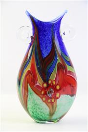 Sale 8997 - Lot 67 - Large art glass twin handled vase (H35cm)