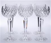 Sale 9015J - Lot 116 - A set of 6 quality vintage hand cut lead crystal tall wine glasses Ht: 18.5cm