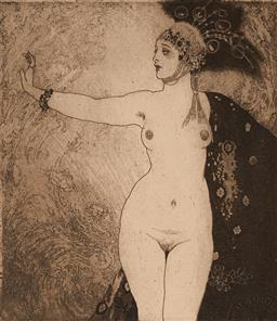 Sale 9116A - Lot 5047 - Norman Lindsay (1879 - 1969) The Ring, 1924 facsimile etching, ed. 268/550 13 x 11.5 cm (frame: 42 x 40 x 3 cm) facsimile signed low...