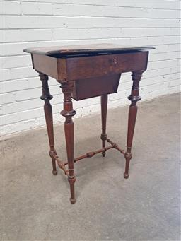 Sale 9126 - Lot 1142 - 19th Century French Walnut Sewing Table, with veneered hinged top (distressed), a fitted interior with basket section & turned legs...