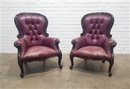 Sale 9188 - Lot 1449 - Pair of Victorian Style Buttoned Red Leather Armchairs, with balloon backs & cabriole legs (h:106 w:80 d:80cm)