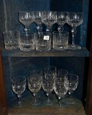 Sale 7962B - Lot 53 - Two shelf lots of Crystal stem ware and tumblers