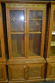Sale 7987A - Lot 1015 - Glass Door Display Cabinet with Hunting Scenes