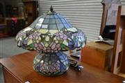 Sale 7987A - Lot 1366 - Leadlight Styled Table lamp with Floral Decorations