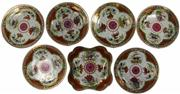 Sale 8008 - Lot 13 - Worcester Chamberlains Dragon in Compartments Plates Set