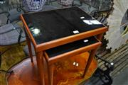 Sale 8159 - Lot 1026 - Nest of 2 Tables w Black Glass Tops