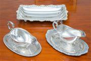 Sale 8341A - Lot 48 - A group of EP sauce boats and trays, L of tray 32cm