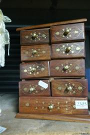 Sale 8362 - Lot 2305 - Small Brass Inlaid Chest Of Drawers