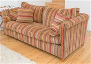 Sale 8380A - Lot 62 - A two seater striped velvet upholstered lounge with cushions and bolsters, W 188 x D 94 cm