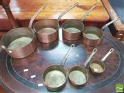 Sale 8428 - Lot 1093 - Set of Six Copper Saucepans