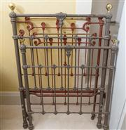 Sale 8470H - Lot 398 - A pair of red painted cast iron single bed ends, together with cast alloy pair in grey.