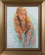 Sale 8486A - Lot 19 - Artist Unknown - Lady with Green Necklace 60 x 46cm