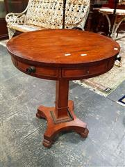 Sale 8693 - Lot 1017 - Regency Small Mahogany Drum-Top or Rent Table, the small cross-banded top, fitted with four faux and four proper drawers, one lockab...