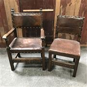 Sale 8699A - Lot 730 - Set of 10 Late C19th Continental Oak Chairs including 2 Carvers with leather seats and backs