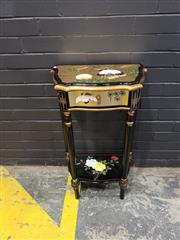Sale 8988 - Lot 1020 - Oriental Style Bedside Table with Single Drawer & Bird Decoration (H: 83 x W: 51 x D: 30cm)