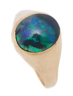 Sale 9107J - Lot 349 - A 9CT GOLD OPAL RING; featuring a 11.92 x 10.16mm oval cabochon black opal with mostly violet, blue and green colours rub set in tap...