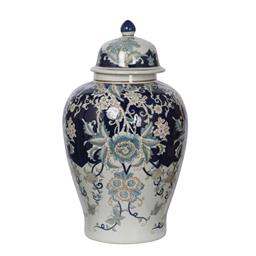 Sale 9140F - Lot 210 - High gloss blue, white & gold large porcelain ginger jar with lid. Dimensions: W34 x D34 x H59 cm
