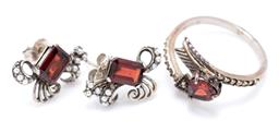 Sale 9221 - Lot 325 - A SILVER GARNET AND STONE SET RING AND EARRINGS; stud earring set with emerald cut garnets and seed pearls, size 17 x 14mm, and an a...