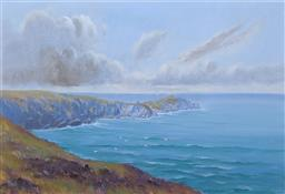 Sale 9237A - Lot 5018 - BYRON COOPER (1850 - 1933) (ENGLISH) Lands End, Cornwall c1900 oil on board (unframed/mounted) 44 x 69.5 cm (mount: 60 x 85 cm) sig...