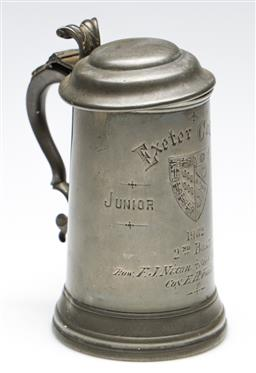 Sale 9246 - Lot 52 - 1902 Exeter Collage Junior Pairs , 2nd Boat Pewter Tankard (H: 17cm)