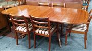 Sale 8093 - Lot 1404 - Mahogany Single Leaf Inlaid Dining Table w 8 Chairs