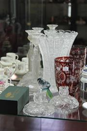 Sale 8189 - Lot 72 - Ruby Glass Vase with Crystal & Glass Wares incl. Royale de Champagne