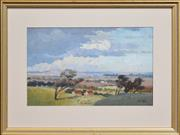 Sale 8286 - Lot 590 - Robert Little (1854 - 1944) - Overlooking Country Cottages 21 x 34cm