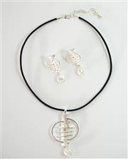 Sale 8450 - Lot 85 - Fresh Water Pearl Costume Necklace with Matching Earrings