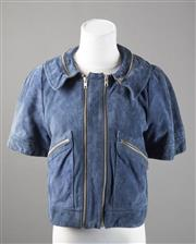 Sale 8499A - Lot 4 - A See by Chloe (Karl Lagerfeld) blue suede multi-zippered jacket, 2 front pockets, short sleeves; original tags. Size: 38.