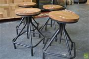 Sale 8532 - Lot 1424 - Set of Four Timber Top Swivel Stools on Black Metal Square Base