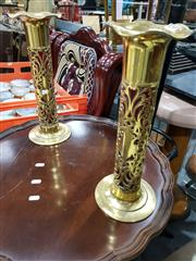 Sale 8693 - Lot 1043 - Pair of Ornate Brass Vases, with pierced body & red glass liners