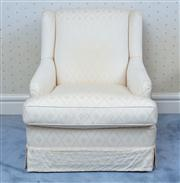 Sale 8815A - Lot 61 - A cream silk upholstered armchair with diaper pattern some stains to back and sides, H x 85cm, W x 72cm, D x 90cm