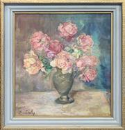 Sale 8958 - Lot 2060 - Erika Zichy (2 works) Still Life - Pink Roses; Beach Scene 1968  oil on canvas & gouahce, 55 x 51cm; 48 x 56cm (frames), signed
