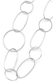 Sale 9054 - Lot 329 - A STERLING SILVER NECKLACE; 23mm wide round and oval chain links, length 100cm, wt. 60.58g.