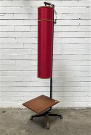 Sale 9076 - Lot 1083 - Vintage Floor Lamp with Metal Stand and Cylindrical Shade (h:152cm)