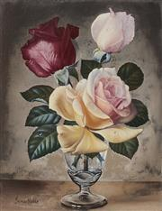 Sale 9084A - Lot 5006 - James Noble (1919 - 1989) - Red & Pink Roses 24 x 19 cm (frame: 38 x 32 x 4 cm)