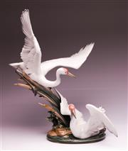 Sale 9086 - Lot 33 - Lladro Cranes Figure, product no. 1456 on timber stand (H: 53.5cm)