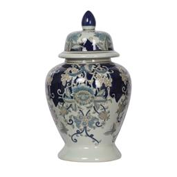 Sale 9140F - Lot 211 - High gloss blue, white & gold medium porcelain ginger jar with lid. Dimensions: W25 x D25 x H42 cm