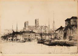 Sale 9141A - Lot 5080 - SYDNEY LONG (1871 - 1955) Lancom drypoint etching, ed. 5/34 (mounted/unframed) 22.5 x 32.5 (mount: 38 x 51 cm) signed lower right