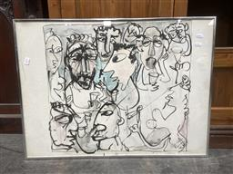 Sale 9176 - Lot 2169A - Felix Srecko-Radman Abstract Faces, 1986, ink on paper, frame: 57 57cm, signed and dated lower right