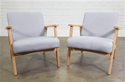 Sale 9188 - Lot 1670 - Pair of modern timber frame armchairs (h73 x w66 x d70cm)