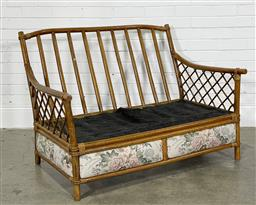 Sale 9188 - Lot 1512 - Vintage two-seater cane lounge by Wicker Manufacturers, Brisbane (h86 x w123 x d90cm) -