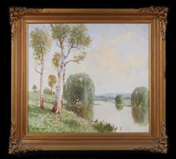 Sale 7923 - Lot 543 - William Lister Lister - River Landscape 38 x 43cm