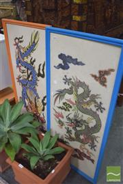 Sale 8331 - Lot 1070 - Pair of Chinese Dragons on Rice Paper