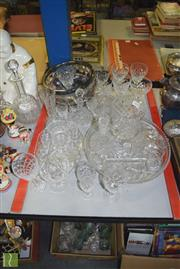 Sale 8436 - Lot 92 - Cut Crystal Drinking Glasses Together With Milk Jugs, Trays And Decanters