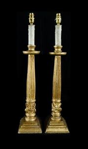 Sale 8620A - Lot 25 - A pair of antique Italian giltwood column candlesticks converted to Electricity (Australian standard), overall height to bulb holder...